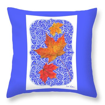Throw Pillow featuring the digital art Maple Leaves by Lise Winne