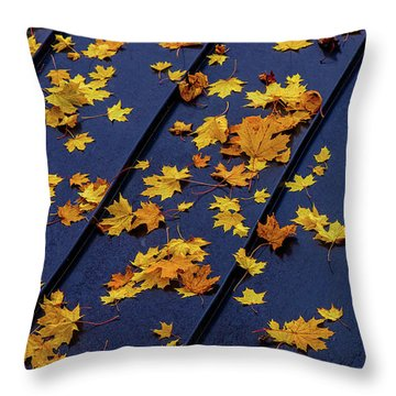 Maple Leaves On A Metal Roof Throw Pillow