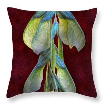 Maple Seeds Throw Pillow by Tom Mc Nemar