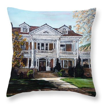 Throw Pillow featuring the painting Mapleton Hill Homestead by Tom Roderick