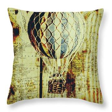 Mapping A Hot Air Balloon Throw Pillow