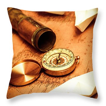 Maps And Bearings Throw Pillow