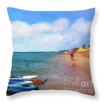 Mar Beach Throw Pillow by Shirley Stalter