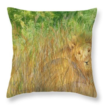 Throw Pillow featuring the painting Mara The Lioness by Vicki  Housel
