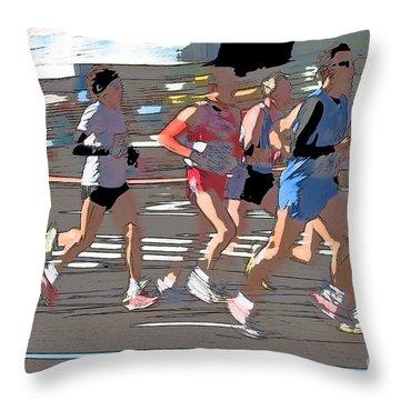 Marathon Runners II Throw Pillow