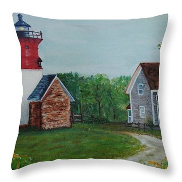 Throw Pillow featuring the painting Marbelhead Lighthouse by Debbie Baker