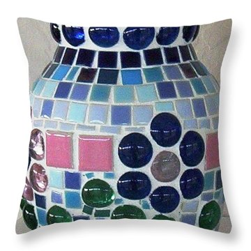 Throw Pillow featuring the glass art Marble Vase by Jamie Frier