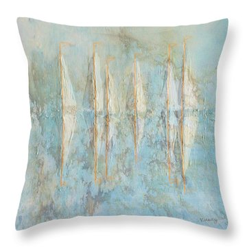 Throw Pillow featuring the painting Marbled Yachts by Valerie Anne Kelly