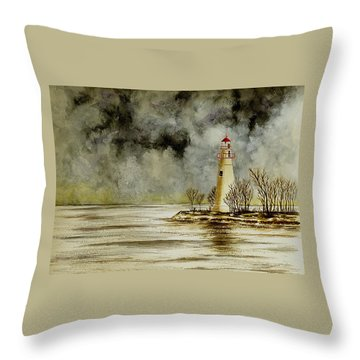 Marblehead Lighthouse In The Winter Throw Pillow by Michael Vigliotti