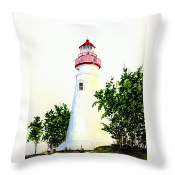 Marblehead Lighthouse Throw Pillow by Michael Vigliotti