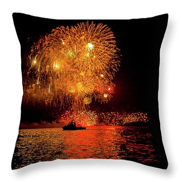 Throw Pillow featuring the photograph Marblehead Fireworks by Jeff Folger