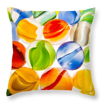 Marbles 3 Throw Pillow by Jim Hughes