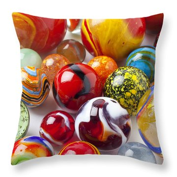 Marbles Close Up Throw Pillow by Garry Gay
