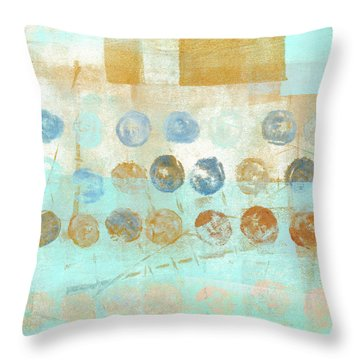 Throw Pillow featuring the mixed media Marbles Found Number 1 by Carol Leigh