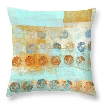 Throw Pillow featuring the mixed media Marbles Found Number 2 by Carol Leigh