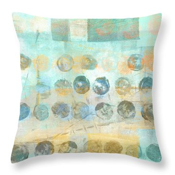 Throw Pillow featuring the mixed media Marbles Found Number 4 by Carol Leigh