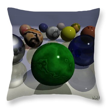 Marbles Throw Pillow by Walter Chamberlain
