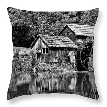 Marby Mill In Black And White Throw Pillow by Paul Ward