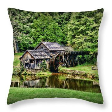 Marby Mill Landscape Throw Pillow by Paul Ward
