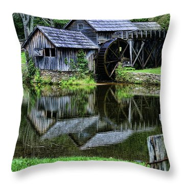 Marby Mill Reflection Throw Pillow by Paul Ward