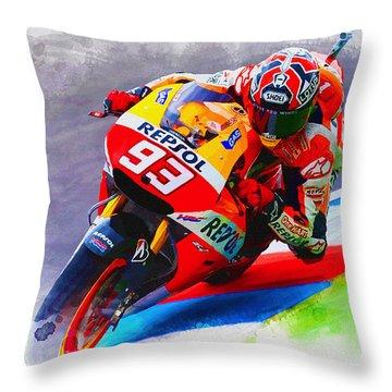 Marc Marquez Get Up Close Throw Pillow
