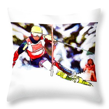 Marcel Hirscher Skiing Throw Pillow by Lanjee Chee