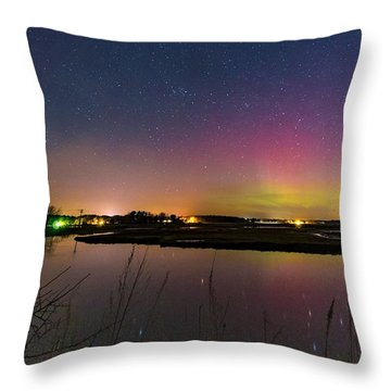 March 6 Aurora Over Scarborough Marsh  Throw Pillow