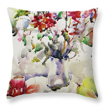 March Greeting Throw Pillow by Becky Kim