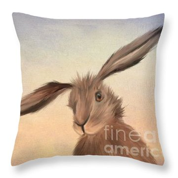 March Hare Throw Pillow by John Edwards