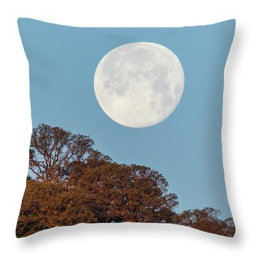 Throw Pillow featuring the photograph March Moonset by Marc Crumpler