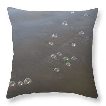 March Of The Bubbles Throw Pillow by Marie Neder