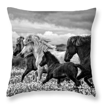 March Of The Mares Throw Pillow
