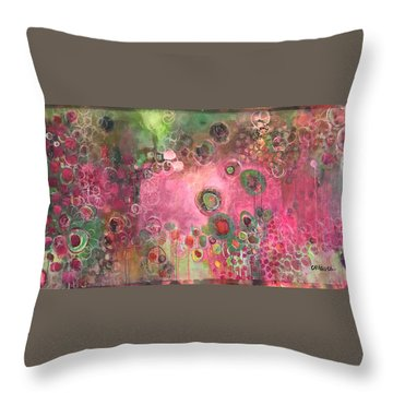 Throw Pillow featuring the painting March Of The Spoonbills by Laurie Maves ART