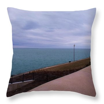 March On Lake Michigan Throw Pillow by Anna Villarreal Garbis