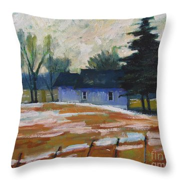 Throw Pillow featuring the painting March Thaw by Charlie Spear