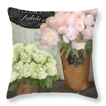 Marche Aux Fleurs 2 - Peonies N Hydrangeas Throw Pillow by Audrey Jeanne Roberts