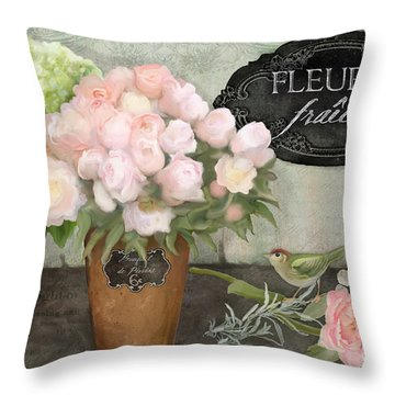 Throw Pillow featuring the painting Marche Aux Fleurs 2 - Peonies N Hydrangeas W Bird by Audrey Jeanne Roberts