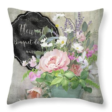 Marche Aux Fleurs 3 Peony Tulips Sweet Peas Lavender And Bird Throw Pillow by Audrey Jeanne Roberts