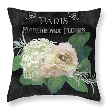 Throw Pillow featuring the painting Marche Aux Fleurs 4 Vintage Style Typography Art by Audrey Jeanne Roberts