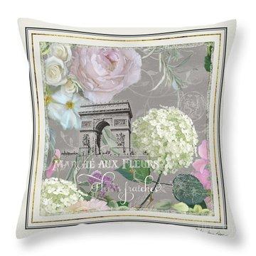 Throw Pillow featuring the painting Marche Aux Fleurs Vintage Paris Arc De Triomphe by Audrey Jeanne Roberts