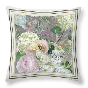 Throw Pillow featuring the painting Marche Aux Fleurs Vintage Paris Eiffel Tower by Audrey Jeanne Roberts