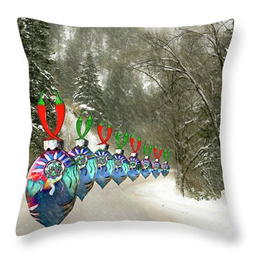 Marching Ornaments Chili Peppers Throw Pillow