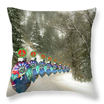 Marching Peace Ornaments Throw Pillow