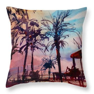 Throw Pillow featuring the painting Marco Island Hilton Poolside by Sandra Strohschein