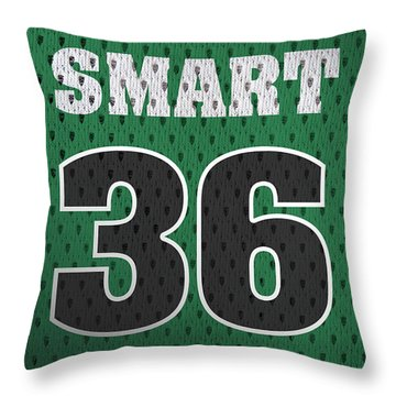 Marcus Smart Boston Celtics Number 36 Retro Vintage Jersey Closeup Graphic Design Throw Pillow