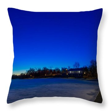 Throw Pillow featuring the photograph Marcy Casino Winter Twilight by Chris Bordeleau