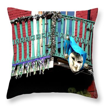Mardi Gras Balcony Throw Pillow