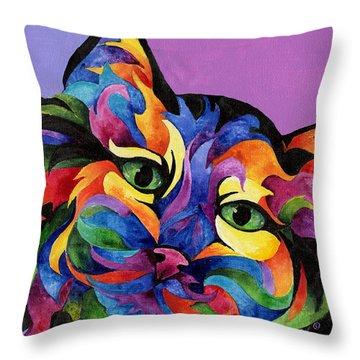Mardi Gras Cat Throw Pillow by Sherry Shipley
