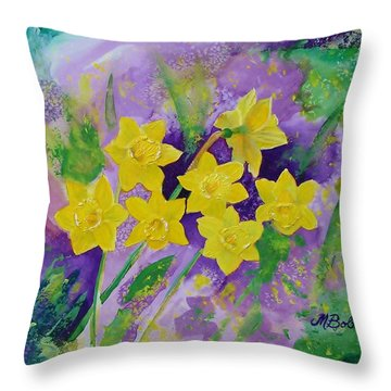 Mardi Gras Daffodils Throw Pillow by Margaret Bobb
