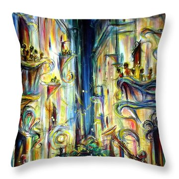 Mardi Gras Throw Pillow by Heather Calderon